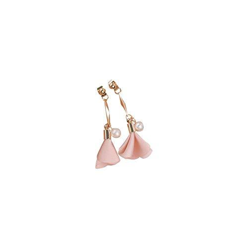 Chiffon bloemen roze oorbellen clip oorbellen lange oorbellen schattige mode vrouwen
