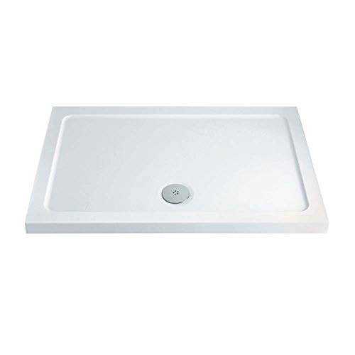 Eacon Low Profile White Stone Resin Acrylic Capped Rectangle Shower Tray Premium Quality 1100 x 700