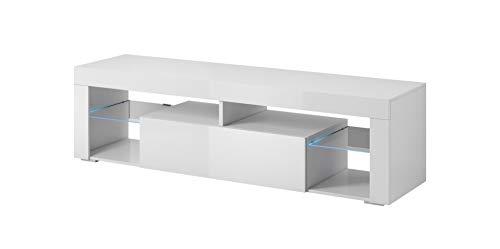 E-Com - TV-Lowboard Fernsehschrank Fernsehtisch Titan with LED - 140 cm - Weiß