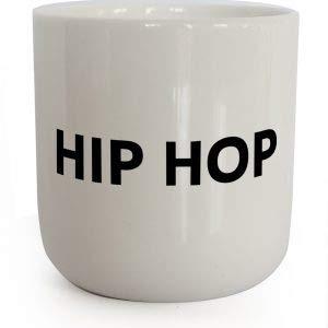 PLTY - Becher - Tasse ohne Henkel - Handglasiertes Weiß Porzellan - Hochwertiges Bone China - Coffee Mug - Hip Hop - Beat