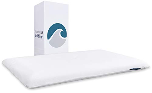 Bluewave Bedding Ultra Slim Gel Memory Foam Pillow for Stomach and Back Sleepers - Thin and Flat Design for Spinal Alignment, Better Breathing and Enhanced Sleeping (Full Pillow Shape, King Size)