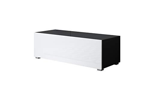 Mueble TV Luke H1 (100x32cm) Color Negro y Blanco con Patas estándar