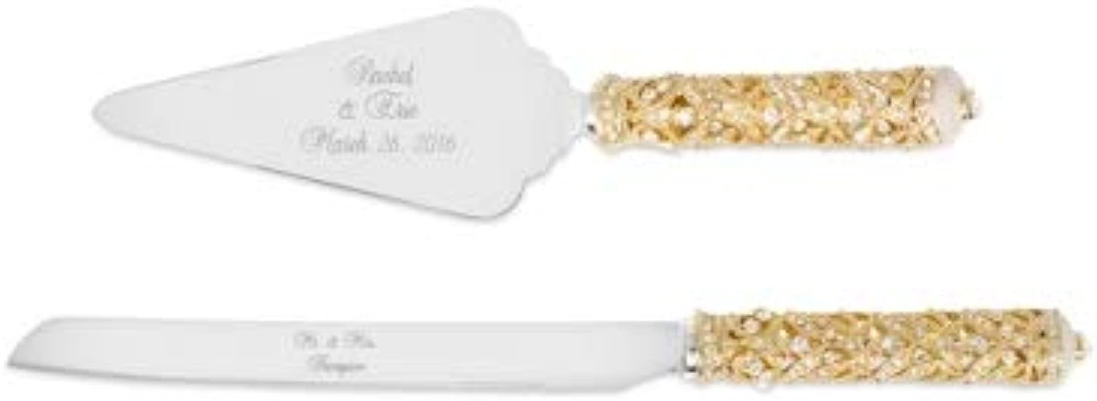 Things Remembered Personalized Gold And Pearl Enamel Crown Cake Server Set With Engraving Included