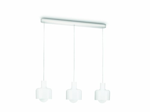 Philips 409233116 Dean Suspension 3 Lampes Technologie Fluorescent Verre Blanc