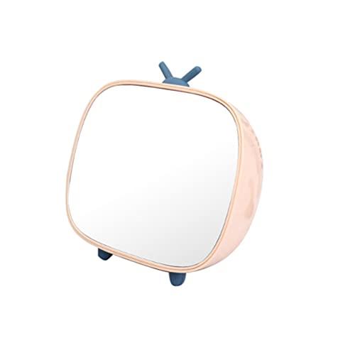 Minkissy Bureau Miroir de Maquillage Brosse De Stockage Titulaire Organisateur Boîte Salle De Bains Miroir Tv Miroir En Forme De Table Couleur Aléatoire