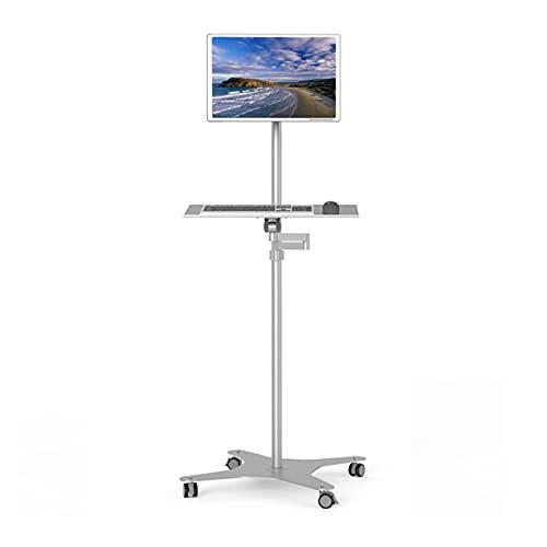 Montaje del Monitor Soporte de soporte de monitor de pie móvil Montaje de soporte de monitor único con ruedas y bandeja de teclado Soporte de monitor LCD ajustable en altura para el monitor de 10 '-34