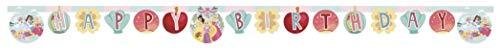 ALMACENESADAN 0841, Perfil Disney Princesas, Multicolor, para Fiestas y cumpleaños, Dimensiones Aprox 2 m, Guirnalda Happy Birthday