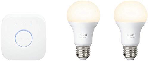 Philips Hue White - Kit de 2 bombillas LED E27 y puente, 9,5 W, iluminación inteligente, luz blanca cálida regulable, compatible (compatible con Amazon Alexa, Apple HomeKit y Google Assistant)