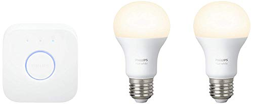 Philips Hue White - Kit de 2 bombillas LED E27 y puente,...