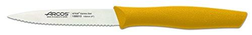 Arcos Serie Nova, Cuchillo Mondador, Hoja Serrada de Acero Inoxidable de 100 mm, Mango de Polipropileno Color Amarillo
