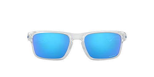 Oakley Men's OO9408 Sliver Stealth Square Sunglasses, Matte Clear/Prizm Sapphire, 56 mm