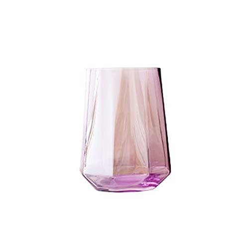 Dabeigouzbolb Glaser Glas Trinkglas, kreative, geometrische achteckige Form, Trinkglas des Haushalts, Weinglas, Whisky (Farbe) Größe: 10.5 * 6,5 cm (Color : Pink)