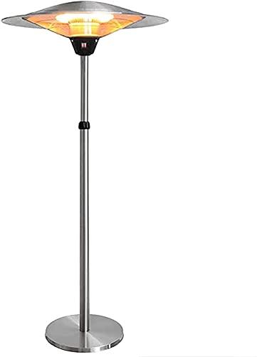 Calentador de Patio Calefactor Eléctrico Calentador de jardín Calentadores de tubo de fibra de carbono infrarrojos ajustables en altura con protección contra sobrecalentamiento, impermeable al aire