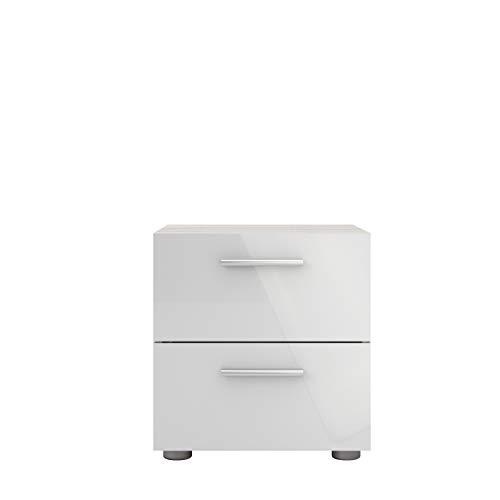 Tvilum Austin 2 Drawer Nightstand, Oak Structure/White High Gloss