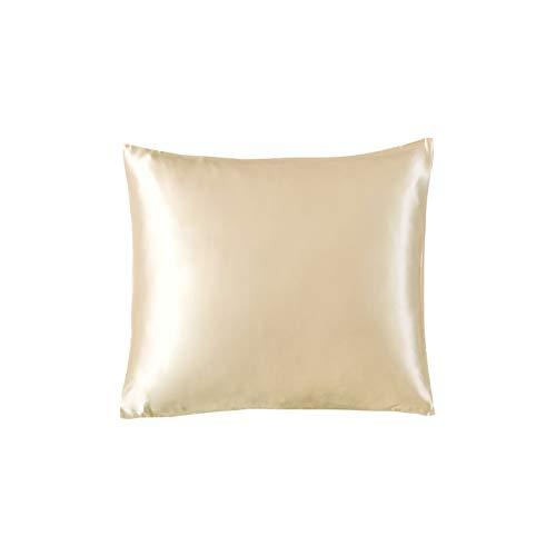 THXSILK 100% 19 Momme Seide Kissenbezug Kissenhülle mit Reißverschluss - Seide Kissen Bezug - Super Weich und Glatt Seide Kopfkissenbezug (45x45cm, Champagner)
