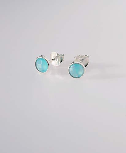 Calcedonia Azul Pendientes Plata de Ley 925 Handmade
