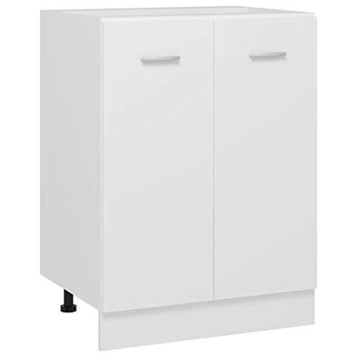 vidaXL Unterschrank mit 2 Regalböden Küche Schrank Küchenzeile Küchenmöbel Küchenschrank Küchenunterschrank Weiß 60x46x81,5cm Spanplatte