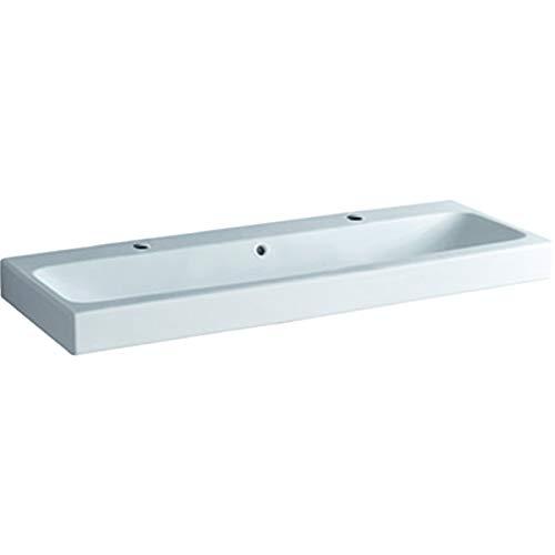 Geberit iCon Waschtisch 120x48,5cm weiß, 124020 mit Zwei Hahnlöchern, Farbe: Weiß - 124020000