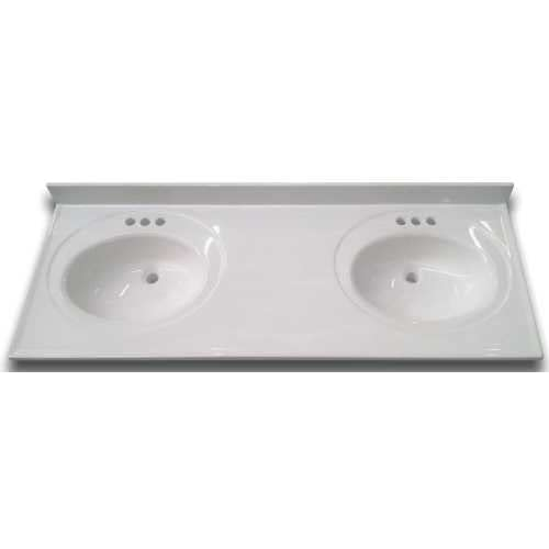 Superieur Bathroom Vanity Top With Double Recessed Bowl, Cultured Marble, White,  22X61 In.: Amazon.com: Industrial U0026 Scientific