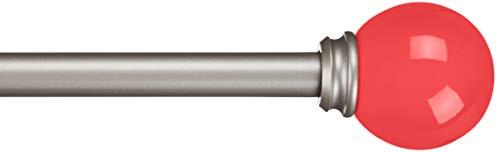 Amazon Basics - Bastone per tende, 1,6 cm, con elementi decorativi a forma rotondi, 71 cm, Rosa