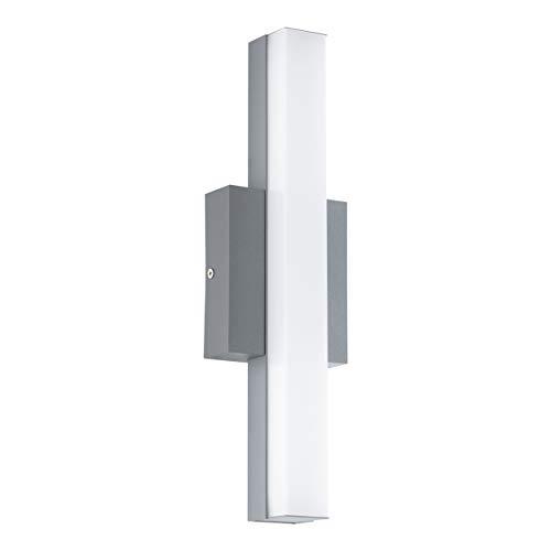 EGLO LED Außen-Wandlampe Acate, 1 flammige Außenleuchte, Wandleuchte aus Alu und Stahl, Farbe: Silber, weiß, IP44