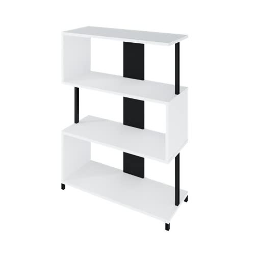 LEVIRA Estantería, Librería Liri, 80 x 32 x 108 - Negro y Blanco