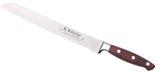 K SABATIER - Pain 23 Cm Gamme Elegance - Acier Inoxydable - Manche Bois - 100% Forge - Entièrement Fabrique en France