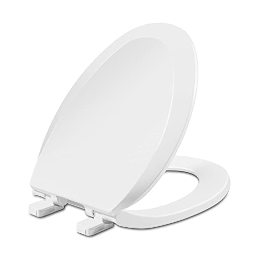 Elongated Toilet Seat, Slow Close Toilet Seat with Cover, Easy to Install & Clean, Removable, Suitable to Elongated or Oval Toilets, Plastic, White