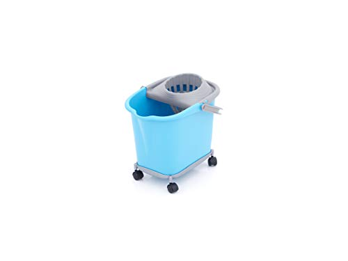 Smart-T-Haus Cubo Rectangular 16 L con Ruedas + Escurridor, Azul, 39x29x35,5 cms