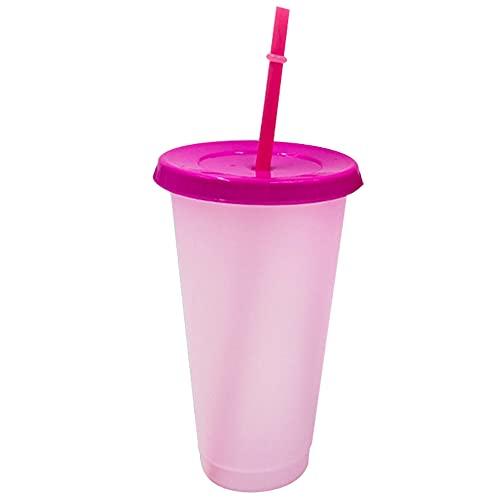 Vidrieras Vajillas Vajilla Color Cambio Estadio Taza Reutilizable Plástico Variable Color Taza De Café con Cubierta Y Paja para Regalos De Cumpleaños Adultos Niños Rosa Roja
