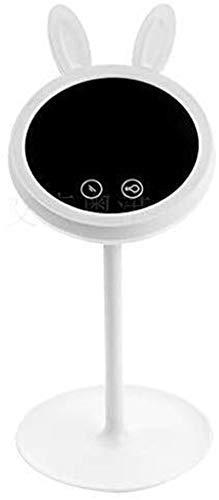 L&B-MR Espejo de maquillaje espejo de iluminación LED, lámpara de escritorio de carga USB, interruptor de sensor táctil regulable, espejo de mesa giratorio