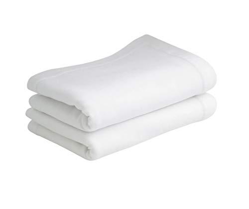 Bloomsbury Mill - Sábanas encimeras de punto liso suave - 100 % algodón - Blanco - 75 cm x 100 cm - Para carrito/cuna - Juego de 2