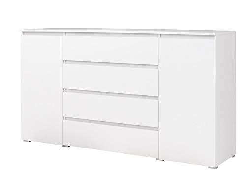 Mirjan24 Kommode Cosmo CS06 mit 4 Schubladen und 2 Türen, Mehrzweckschrank, Highboard, Diele, Flur, Schubladenkommode, Sideboard, Wohnzimmer, Jugendzimmer (Weiß)