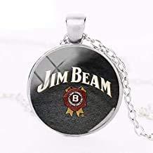 JB Halskette mit Anhänger mit Glaskuppel, runder Silberschmuck, Whiskey-Halsketten, Geschenke für Männer und Frauen