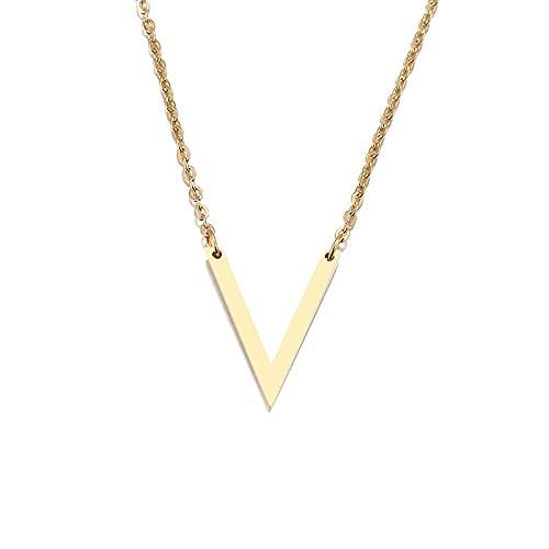 Collar Collar De Acero Inoxidable para Mujer Amante De Oro Y Color Oro Rosa Simple V Colgante Collar Joyería De Compromiso Amigos Oro