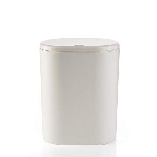 Xcwsmdq Mülleimer Kunststoff-Oval Trash Can Pressing Art Mülleimer Mülltonne Mülleimer Küche Badezimmer Garbage Lagerplatz Can Reinigungsmittel (Color : White)