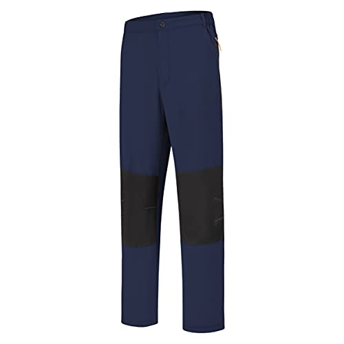 SPOSULEI Men's Elastic Waist Hiking Pants Water Resistant Quick-Dry Lightweight Athletic Sweatpants with Zipper Pockets Dark Blue