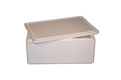 Thermobox, Styroporbox für Essen, Getränke & temperaturempfindliche Ware | Isolierbox aus Styropor mit Deckel | Maße: 59,5 x 39,5 x 28 cm | Wandstärke: 3 cm | Volumen: 39,4 L