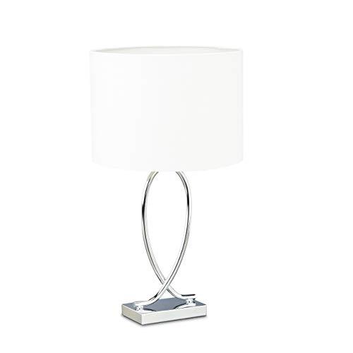 Relaxdays Tischlampe silber, Lampenschirm Gestell, Nachttischlampe Metall, Schirm rund, Eisen, HBT: 51x28x28 cm, weiß