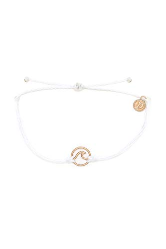 Pura Vida Rose Gold Wave Bracelet w/ Plated Charm - Adjustable Band, 100% Waterproof - White