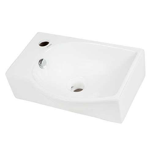"Elanti Collection EC1805-L Bathroom Sink, Rectangular Left Facing (16.00"" x 11.25"" x 5.50""), White"