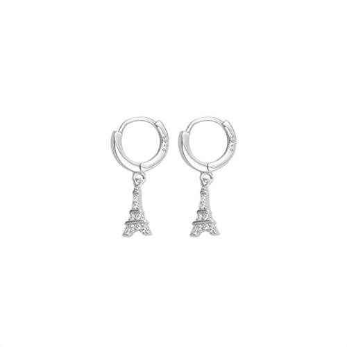WOZUIMEI S925 Pendientes de Plata Esterlina Personalidad Creativa Pendientes de la Torre Eiffel Pendientes Mujeresplatino