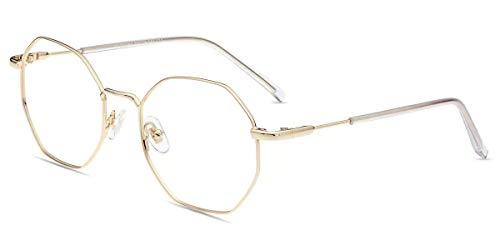 Firmoo Gafas Luz Azul para Mujer Hombre, Gafas Filtro Antifatiga Anti-luz Azul y contra UV400 Ordenador Gaming PC de Gafas Montura de Metal Moda, Y5918 Dorado