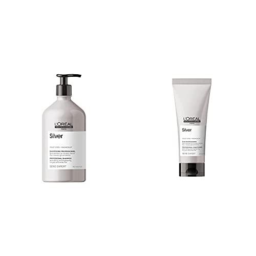 L'Oréal Professionnel Champú Neutralizador para cabellos grises, Silver, SERIE EXPERT, 750 mL + Acondicionador Neutralizador y abrillantador para cabellos grises, blancos o rubios claros,Silver, 200mL