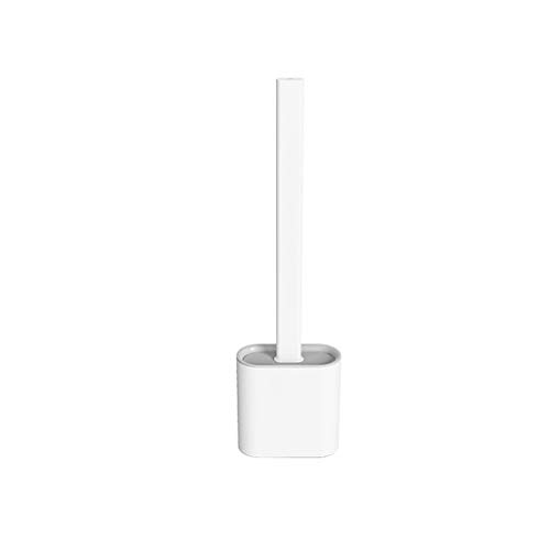 Silicone Flex Toilet Brush with Holder Set, No-Slip Long Handle,Soft Silicone Bristle,with Quick Drying Holder (White)