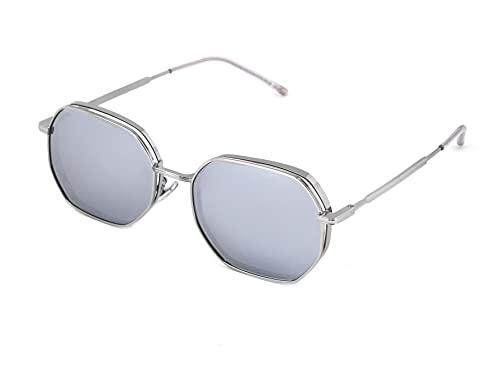 X-LAB Gafas de sol mod. Capri, gafas unisex (Plata, Plata espejada)