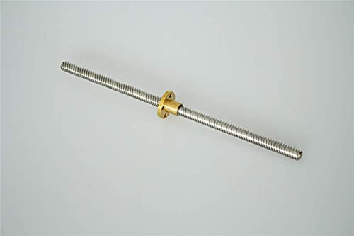 Neigei Tornillo de Avance, 1pc T8 Tornillo de Avance OD 8 mm Paso 2 mm Plomo 8 mm 150200300350400500600 1000 1200 Mm con Tuerca de latón para Impresora CNC 3D (Tamaño: 500 mm) (Size : 200mm)