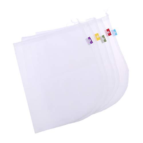 KONGTO 5Pcs Reusable Produce Bags Waschbarer Kordelzugbeutel Net Bag Mesh Bags Für Lebensmitteleinkauf Lagerung Obst Gemüse Gemüse Umweltfreundlich
