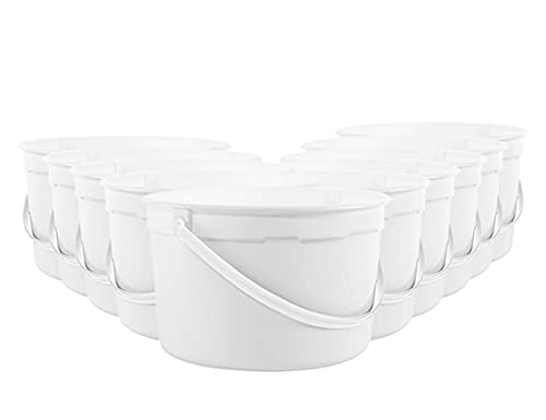 1 Gallon Plastic Container with Lid - Food Grade Ice Cream Pails - White - 10 Pack Buckets with Lids