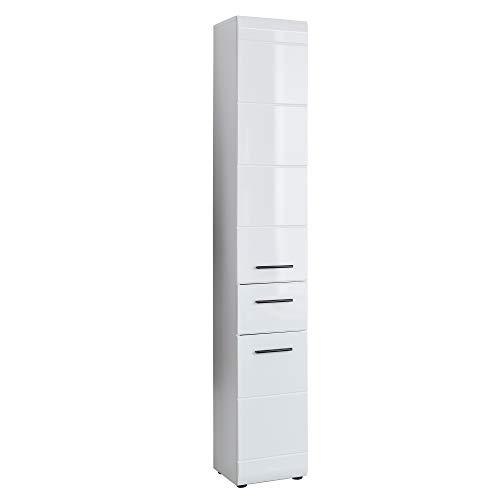 trendteam smart living Badezimmer Hochschrank Schrank Skin, 30 x 182 x 31 cm in Weiß Hochglanz mit viel Stauraum